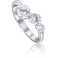 JVD Srebrni prstan s tremi kristali SVLR0218X75BI srebro 925/1000