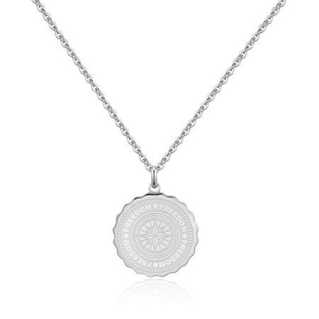 S'Agapõ Stalowy naszyjnik Freedom Coin SKY05
