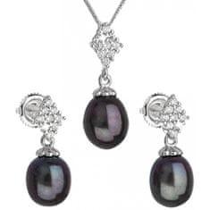 Evolution Group Luxusní stříbrná souprava s pravými tahiti perlami Pavona 29018.3 (náušnice, řetízek, přívěsek) stříbro 925/1000