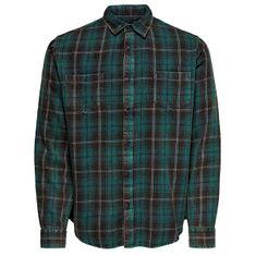 ONLY&SONS Pánská košile ONSOLSEN LS YD ACID WASH CHECK REG SHIRT Forest Night