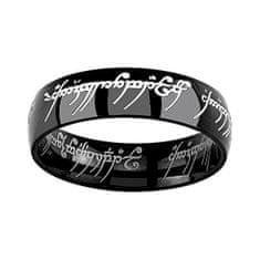 Silvego Čierny oceľový prsteň moci z filmu Pán prsteňov RRC5623