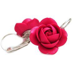 Troli Ruby bleščeče viseči uhani za rože