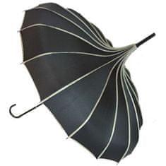 Blooming Brollies Női esernyő Ribbed Pagoda Black BCSRPBL