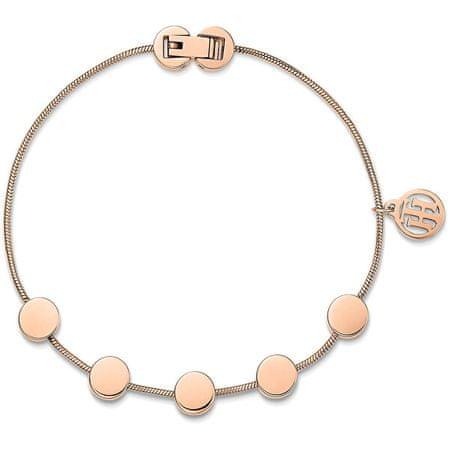 Tommy Hilfiger Rózsaszín aranyozott acél karkötő medálokkal TH2700981