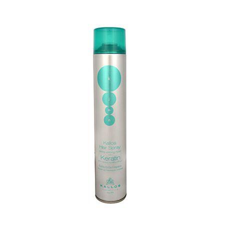 Kallos Extra erős tartást biztosító hajlakk keratinnal (Hair Spray Extra Strong With Keratin) (mennyiség 750 ml)