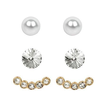 Levien Fülbevaló Set Ear Cuff 4 v 1 Gold Crystal White