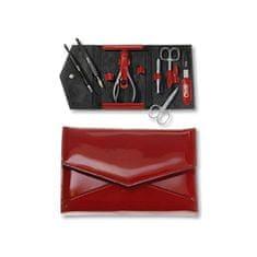 Credo Solingen Luxusní 7 dílná manikúra v červeném koženkovém pouzdře Fire 7