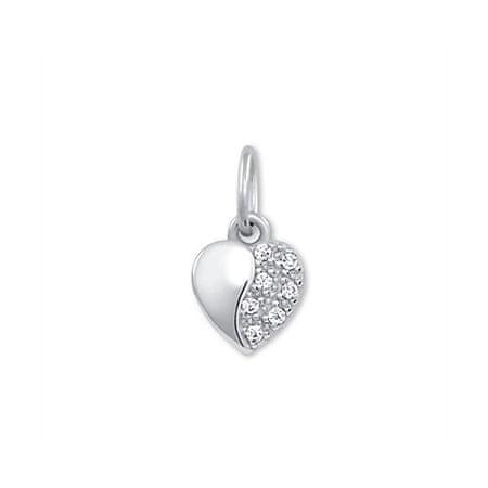 Brilio Zlati obesek Srce s kristali 249 001 00537 07 - 0,35 g Belo zlato 585/1000