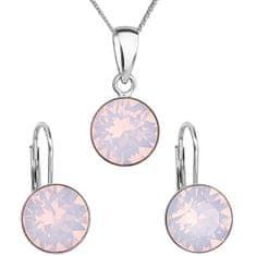 Evolution Group Stříbrná souprava šperků s krystaly Swarovski 39140.7 rose (náušnice, řetízek, přívěsek) stříbro 925/1000