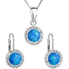 Evolution Group Trblietavá súprava šperkov 39160.1 & blue s.opal (náušnice, retiazka, prívesok) striebro 925/1000