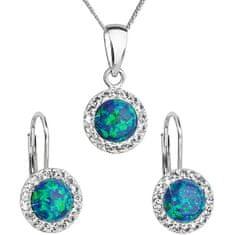 Evolution Group Třpytivá souprava šperků 39160.1 & green s.opal (náušnice, řetízek, přívěsek) stříbro 925/1000