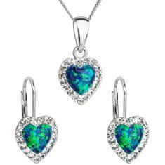 Evolution Group Srdiečková súprava šperkov 39161.1 & green s.opal (náušnice, retiazka, prívesok) striebro 925/1000