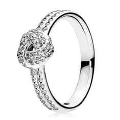 Pandora Třpytivý stříbrný prsten s uzlíkem 190997CZ stříbro 925/1000