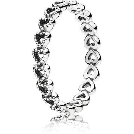 Pandora Srebrni prstan srca 190980 (Obseg 52 mm) srebro 925/1000
