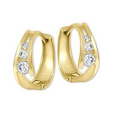 Brilio Zlaté náušnice kroužky s krystaly 239 001 00800