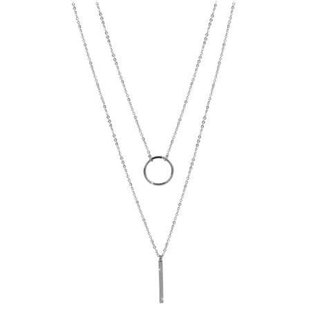 Troli Dvojna ogrlica z elegantnimi jeklenimi obeski