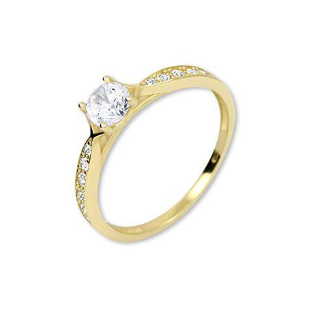Brilio Zlati prstan s kristali 229 001 00753 (Obseg 55 mm) rumeno zlato 585/1000