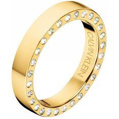 Calvin Klein Luxusné pozlátený prsteň s kryštálmi Hook KJ06JR1401