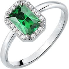 Morellato Třpytivý stříbrný prsten se zeleným kamínkem Tesori SAIW76 stříbro 925/1000