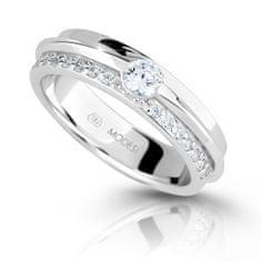 Modesi Třpytivý stříbrný prsten se zirkony M16020 stříbro 925/1000