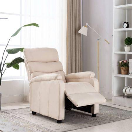 shumee krémszínű szövet dönthető fotel