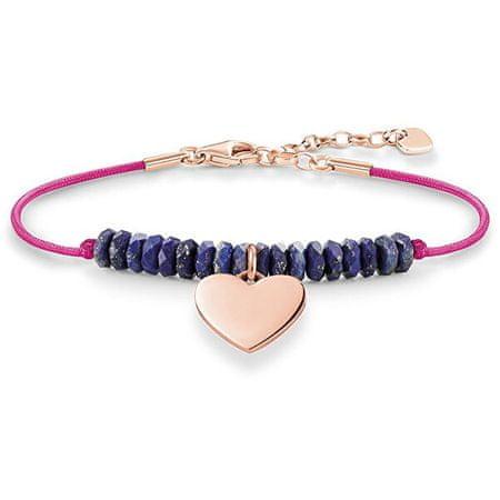 Thomas Sabo Rózsaszín karkötő kék gyöngyökkel és szívvel LBA0081-906-1-L19,5v