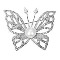 JwL Luxury Pearls Błyszczący motyl z prawdziwą perłą i kryształkami JL0507