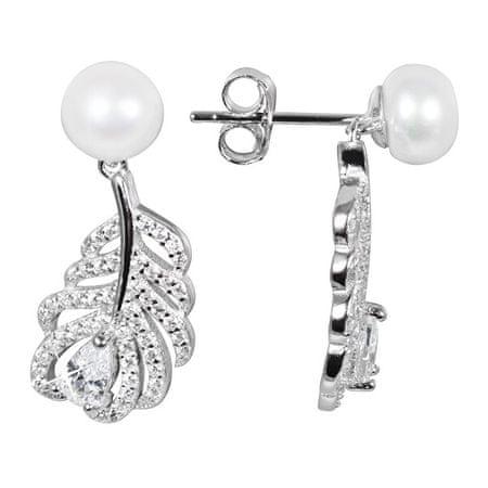 JwL Luxury Pearls Pearl Kolczyki białe perły z piór i cyrkonie JL0536