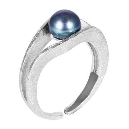 JwL Luxury Pearls Srebrni prstan z modrim biserjem JL0541 srebro 925/1000