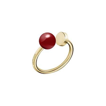 Calvin Klein Pozlačen jekleni prstan Bubbly KJ9RJR1402 (Obseg 55 mm)