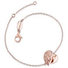 Engelsrufer Růžově zlacený stříbrný náramek Srdce s andělským křídlem a zirkony ERB-LILHW-R