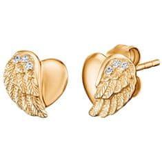Engelsrufer Aranyozott szív ezüst fülbevaló angyal szárnyakkal és cirkónium kövekkel ERE-LILHW-STG
