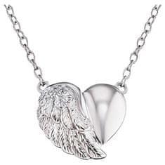 Engelsrufer Strieborný náhrdelník Srdce s krídlom a zirkónmi ERN-LILHEARTWIN striebro 925/1000