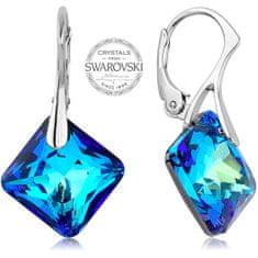 Levien Třpytivé náušnice s modrými krystaly Princess