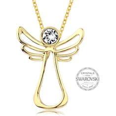 Levien Pozlacený náhrdelník s čirým krystalem Guardian Angel