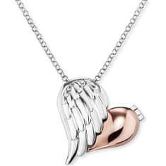 Engelsrufer Stříbrný bicolor náhrdelník Medailonek srdce s křídlem ERN-WITHLOVE-2B stříbro 925/1000