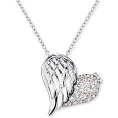 Engelsrufer Stříbrný náhrdelník Medailonek srdce s křídlem a zirkony ERN-WITHLOVE-2Z stříbro 925/1000