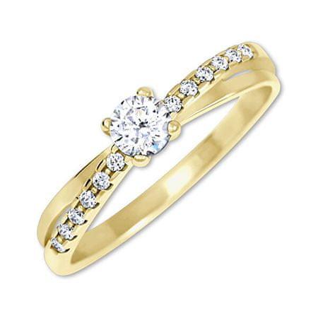 Brilio Očarljiv prstan s kristali zlata 229 001 00810 (Obseg 60 mm) rumeno zlato 585/1000