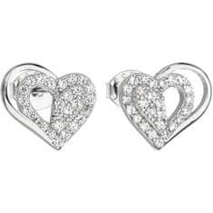 Evolution Group Ezüst fülbevaló cirkóni fehér szívvel 11115.1