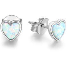 Beneto Ezüst szív fülbevaló opálos kristályokkal AGUP1185