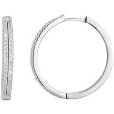 Beneto Stříbrné náušnice kruhy s krystaly AGU1155