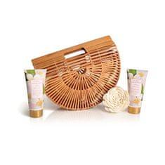 Lady Cotton Sada tělové kosmetiky jasmín v bambusovém košíku (White Jasmine Bath Set in bamboo basket)