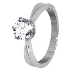Troli Ocelový prsten s třpytivým kamínkem