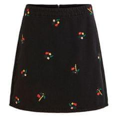 VILA Dámská sukně VIDAHLA HW NEW EMB DENIM SKIRT/L Black Embroidery