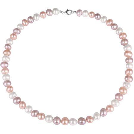 JwL Luxury Pearls Večbarvna ogrlica iz pravih biserov JL0568 srebro 925/1000