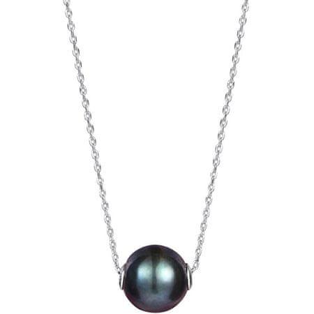 JwL Luxury Pearls Damski czarny naszyjnik z pereł JL0582 ( Łańcuch, wisiorek ) srebro 925/1000