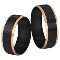 Troli Ocelový černý prsten se zlatým okrajem