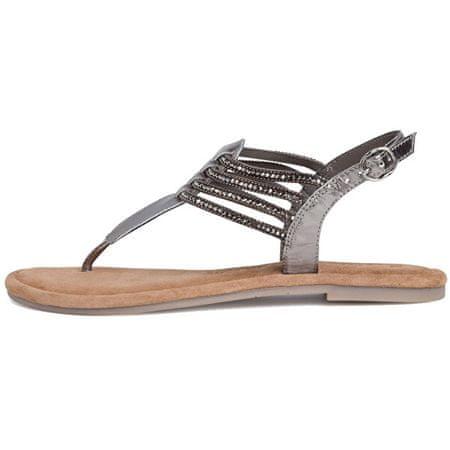 Tamaris Női bőr flip-flop papucs 1-1-28151-24-966 Pewter Glam (Méret 40)