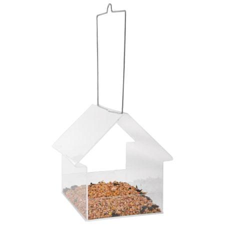 shumee Esschert Design Wiszący karmnik dla ptaków w kształcie domku, akrylowy