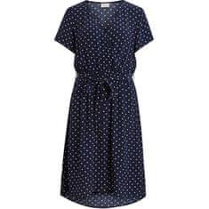 VILA Dámské šaty VIPRIMERA WRAP S/S DRESS-FAV LUX Navy Blazer SNOW WHITE DOT 0.5 CM